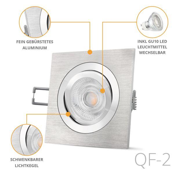 QF-2 LED Einbaustrahler Alu gebürstet eckig schwenkbar inkl. GU10 LED 5W neutralweiß – Bild 2