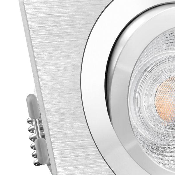 QF-2 LED Einbaustrahler Alu gebürstet eckig schwenkbar inkl. GU10 LED 5W neutralweiß – Bild 5