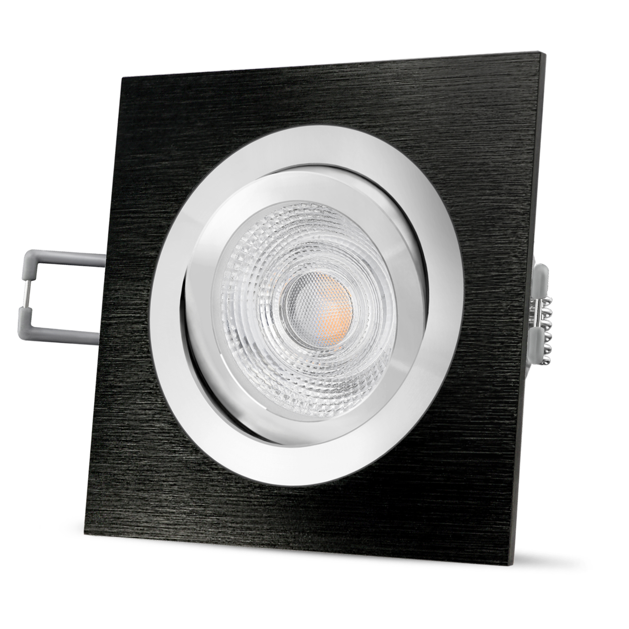 Einbaustrahler COB LED 5Watt 230Volt Sets Decken Einbauleuchten Alu gebürstet