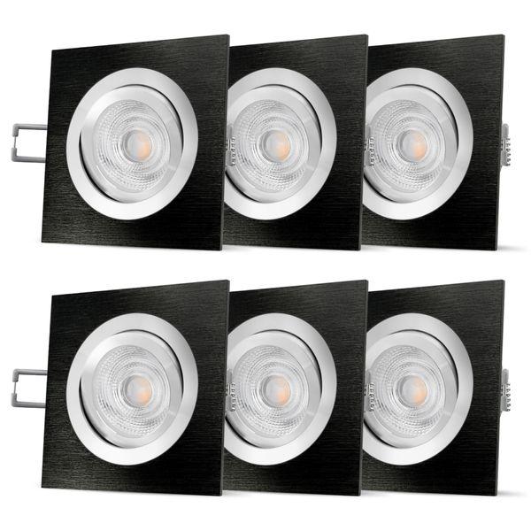 QF-2 LED Einbaustrahler Alu schwarz eckig schwenkbar inkl. GU10 LED 5W neutralweiß