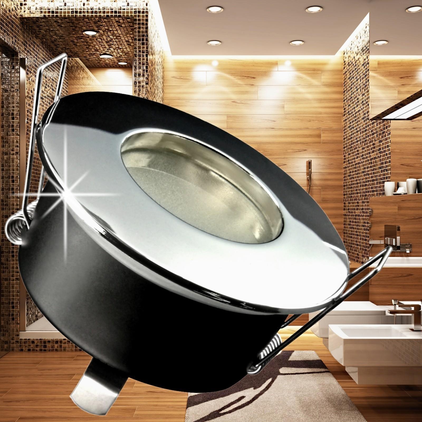 rw 1 led einbaustrahler bad ip65 in rund chrom inkl 5w led gu10 neutralwei 230v. Black Bedroom Furniture Sets. Home Design Ideas