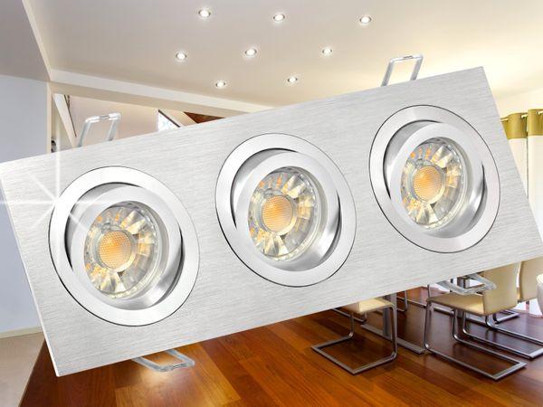 QF-2.3 Alu LED-Einbaustrahler schwenkbar, 3x 5W neutralweiß, GU10 230V in schöner Halogenoptik – Bild 3