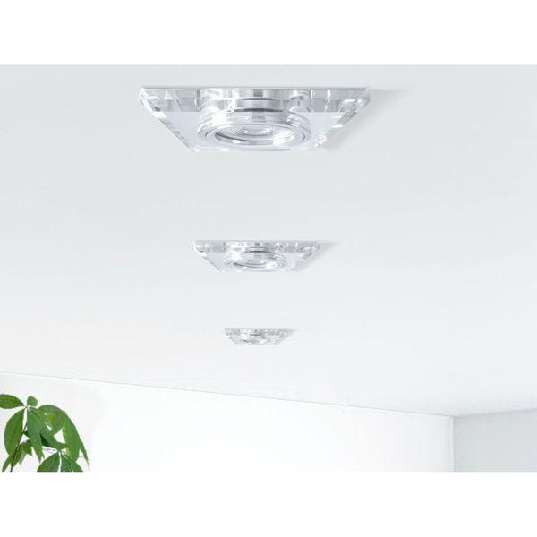 LED Einbaustrahler Glas quadratisch, klar & spiegelnd inkl. 3W GU10 LED warmweiß 230V – Bild 3