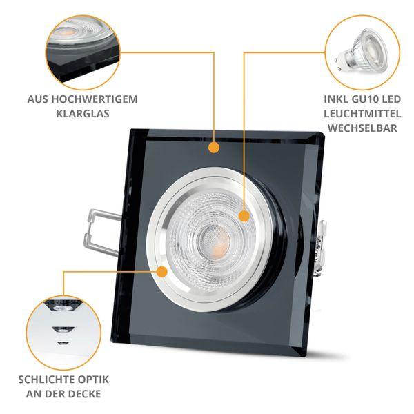 LED Einbauleuchte Glas quadratisch, schwarz & spiegelnd inkl. 5W GU10 LED warmweiß 230V – Bild 2