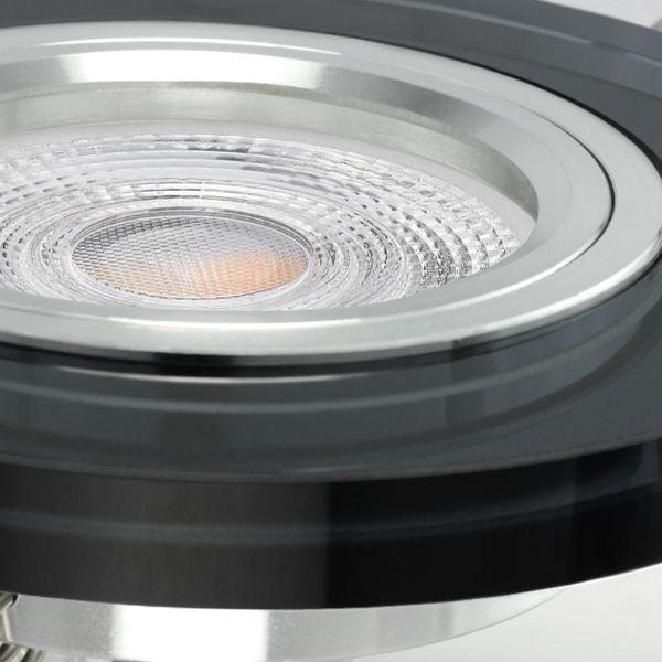 LED Einbauleuchte Glas in rund, schwarz & spiegelnd inkl. 3,5W GU10 LED warmweiß 230V – Bild 3