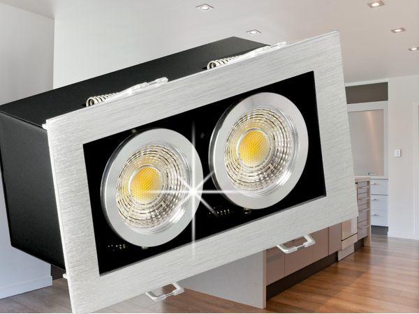 K2 design LED-Einbaustrahler Leuchte kardanisch schwenkbar, 2 Leuchtenköpfe á 3,5W SMD LED warmweiß GU10  230V