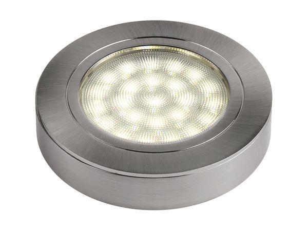 Runde LED-Auf-/ Einbauleuchte, Edelstahl gebürstet, 12V, 2W, warm weiß, D=65 mm – Bild 2