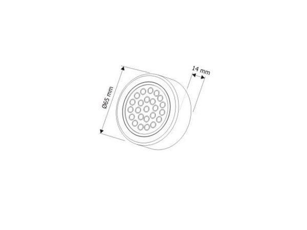 Runde LED-Auf-/ Einbauleuchte, Edelstahl gebürstet, 12V, 2W, warm weiß, D=65 mm – Bild 7
