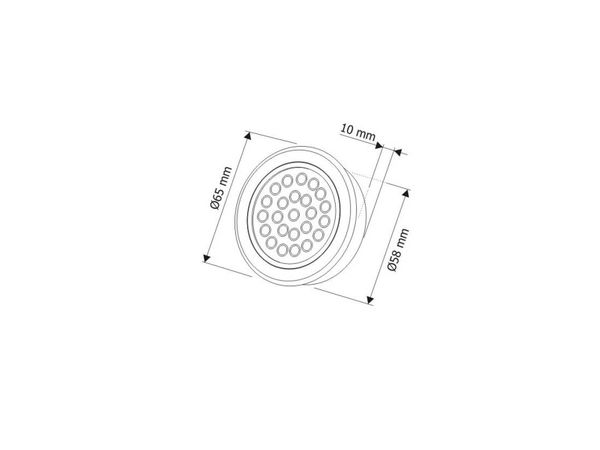 Runde LED-Auf-/ Einbauleuchte, Edelstahl gebürstet, 12V, 2W, warm weiß, D=65 mm – Bild 6