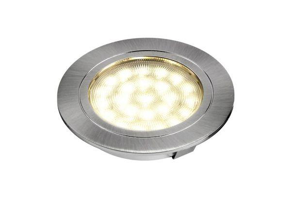 Runde LED-Auf-/ Einbauleuchte, Edelstahl gebürstet, 12V, 2W, warm weiß, D=65 mm – Bild 3