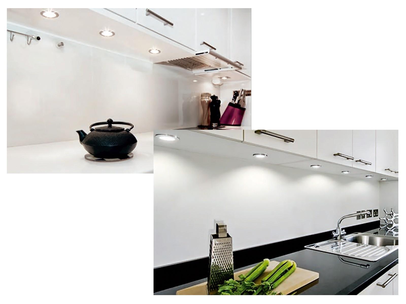 3er-Set runde LED-Schrank-Küchen-Unterbau-Leuchte, Edelstahl ...