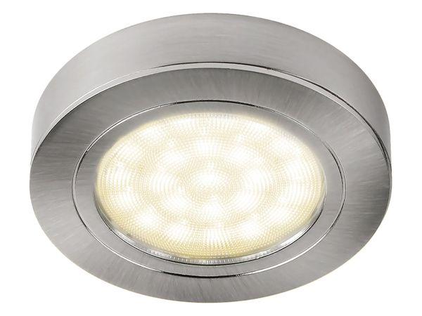 3er-Set runde LED-Schrank-Küchen-Unterbau-Leuchte, Edelstahl gebürstet, 12V, 2W, warm weiß, D=65 mm, inkl. Trafo und 6-fach Verteiler – Bild 3