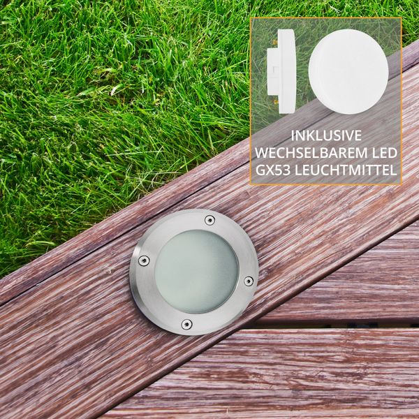 Bodeneinbaustrahler rund VISKOS - Bodenleuchte inkl LED GX53 5,5W warmweiß 530lm 230V – Bild 4
