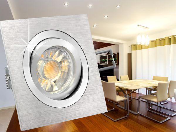 QF-2 LED-Einbaustrahler schwenkbar Alu, 5W LED warmweiß DIMMBAR, GU10 230V in toller Halogenoptik – Bild 3
