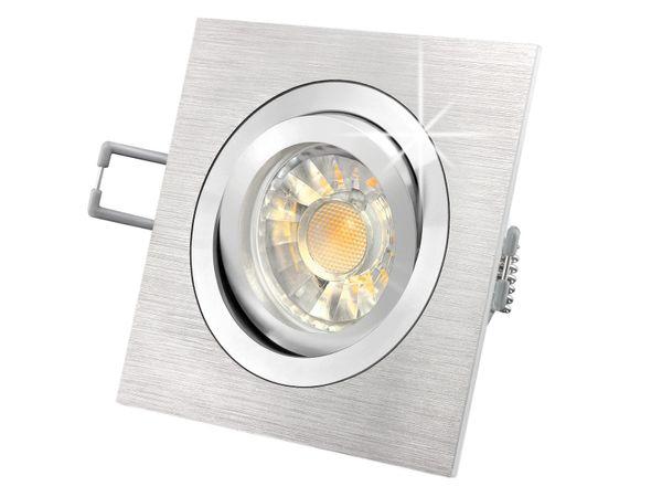QF-2 LED-Einbaustrahler schwenkbar Alu, 5W LED warmweiß DIMMBAR, GU10 230V in toller Halogenoptik Stückzahl: 1er Set