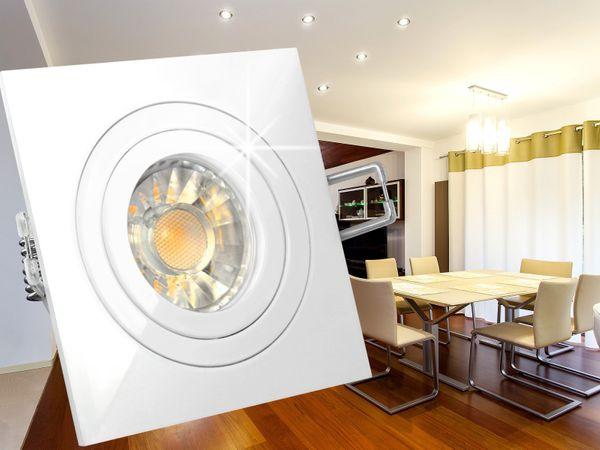 QF-2 LED-Einbauleuchte weiß schwenkbar, 5W LED DIMMBAR warmweiß, 230V GU10, in Halogenoptik – Bild 4