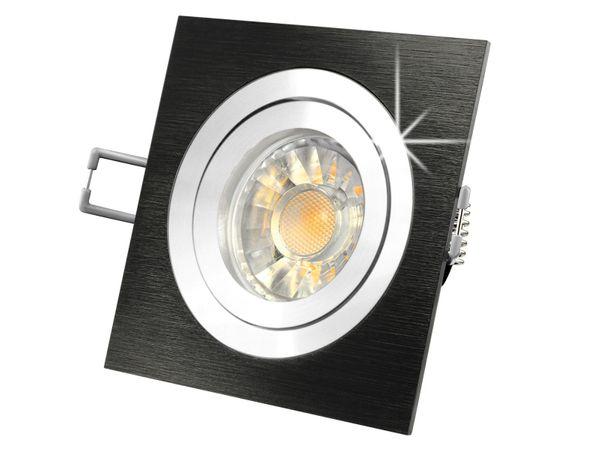 QF-2 LED-Einbauspot Alu schwarz schwenkbar, 5W LED warm weiß DIMMBAR, GU10 230V in schöner Halogenoptik – Bild 2