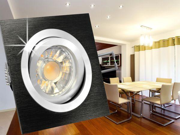 QF-2 LED-Einbauspot Alu schwarz schwenkbar, 5W LED warm weiß DIMMBAR, GU10 230V in schöner Halogenoptik – Bild 3