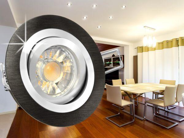 RF-2 LED-Einbaustrahler Leuchte rund Alu schwarz gebürstet, 5W SMD warmweiß DIMMBAR GU10 230V Halogenoptik – Bild 3