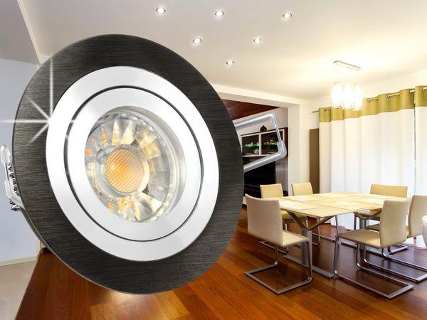 RF-2 LED-Einbaustrahler Leuchte rund Alu schwarz gebürstet, 5W SMD warmweiß DIMMBAR GU10 230V Halogenoptik – Bild 4