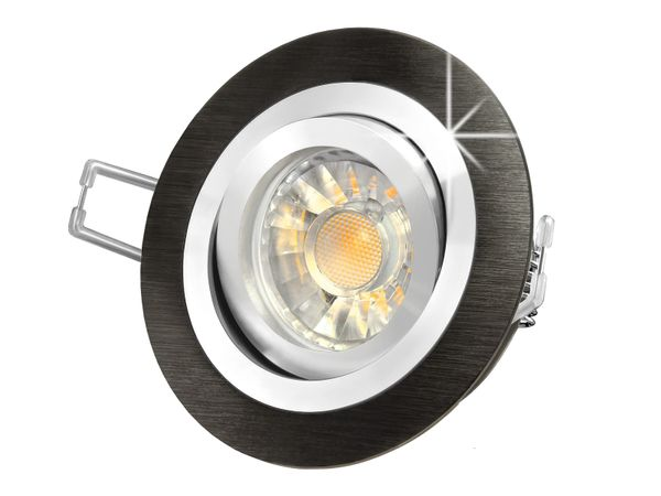 RF-2 LED-Einbaustrahler Leuchte rund Alu schwarz gebürstet, 5W SMD warmweiß DIMMBAR GU10 230V Halogenoptik Stückzahl: 1er Set