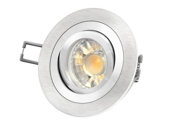RF-2 Aluminium LED-Einbauleuchte Strahler rund, 5W SMD LED warm weiß DIMMBAR, GU10 230V in Halogenoptik Stückzahl: 1er Set