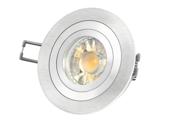 RF-2 Aluminium LED-Einbauleuchte Strahler rund, 5W SMD LED warm weiß DIMMBAR, GU10 230V in Halogenoptik – Bild 2
