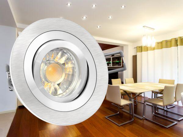RF-2 Aluminium LED-Einbauleuchte Strahler rund, 5W SMD LED warm weiß DIMMBAR, GU10 230V in Halogenoptik – Bild 3