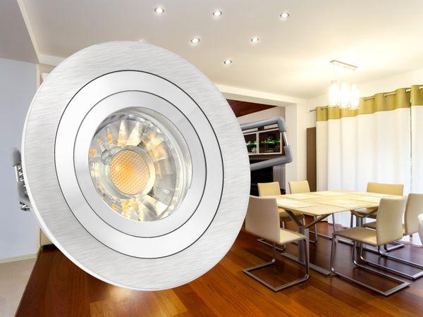 RF-2 Aluminium LED-Einbauleuchte Strahler rund, 5W SMD LED warm weiß DIMMBAR, GU10 230V in Halogenoptik – Bild 4