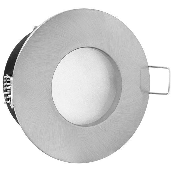 RW-1 LED-Einbaustrahler Bad Dusche Edelstahl gebürstet IP65 7W SMD LED warmweiß dimmbar, GU10 230V – Bild 3
