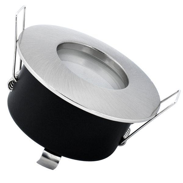 RW-1 LED-Einbaustrahler Bad Dusche Edelstahl gebürstet IP65 7W SMD LED warmweiß dimmbar, GU10 230V