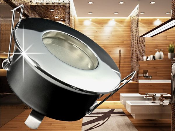 RW-1 Feuchtraum LED-Einbauspot Strahler Bad Dusche chrom, IP65 7W SMD LED warm weiß, GU10 230V dimmbar – Bild 4