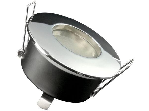RW-1 Feuchtraum LED-Einbauspot Strahler Bad Dusche chrom, IP65 7W SMD LED warm weiß, GU10 230V dimmbar
