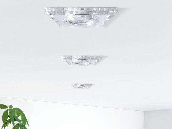 Design Einbaustrahler aus Glas quadratisch klar spiegelnd, LED 5W, warmweiß, DIMMBAR, GU10 Halogenoptik – Bild 4
