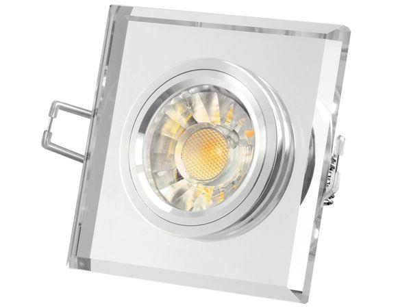 Design Einbaustrahler aus Glas quadratisch klar spiegelnd, LED 5W, warmweiß, DIMMBAR, GU10 Halogenoptik
