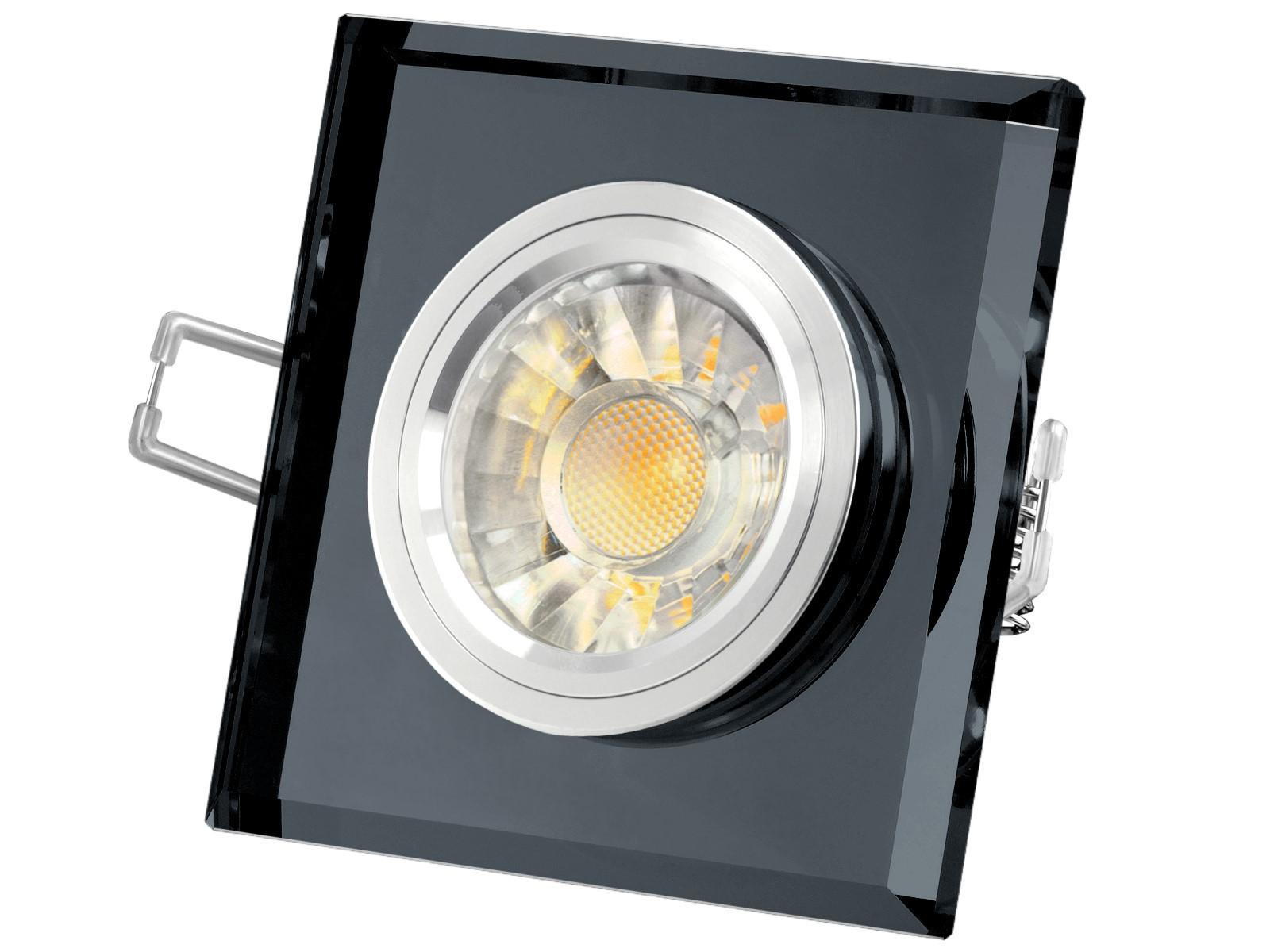 230V LED Glas Einbaustrahler Leuchte schwarz spiegelnd 6W COB LED 38° warmweiß