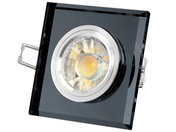 Glas LED-Einbaustrahler quadratisch, schwarz spiegelnd, Alu Innenring, 7W LED, warmweiß, DIMMBAR GU10 230V