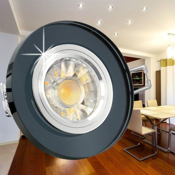 LED Einbaustrahler rund aus Glas schwarz spiegelnd inkl. LED GU10 7W DIMMBAR warmweiß – Bild 2