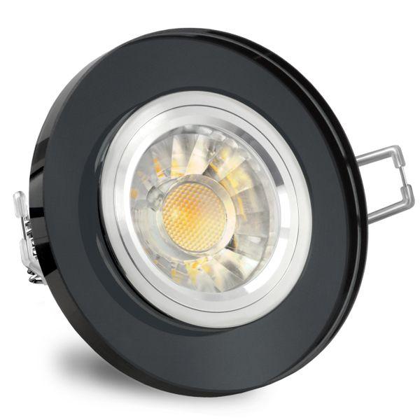 LED Einbaustrahler rund aus Glas schwarz spiegelnd inkl. LED GU10 7W DIMMBAR warmweiß