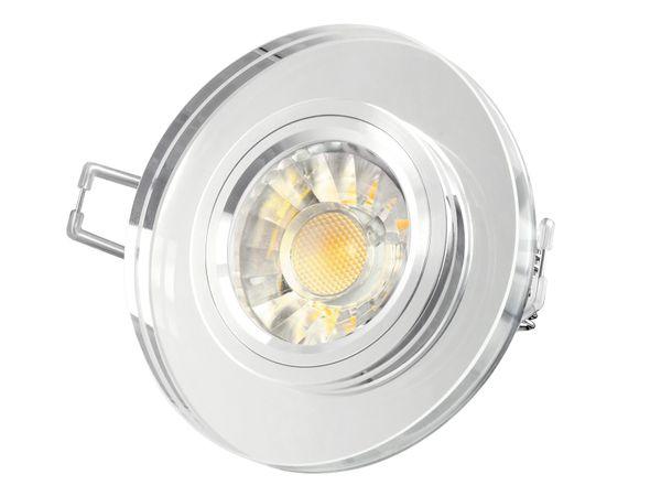 Dimmbarer LED-Einbaustrahler Echtglas rund, klar spiegelnd, Alu Innenring, 7W LED, warmweiß, GU10 230V