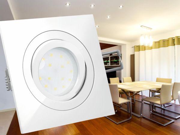 QF-2 LED-Einbauleuchte weiß, flach und schwenkbar inkl. LED-Modul 230V, 5W, warm weiß 2700K – Bild 3