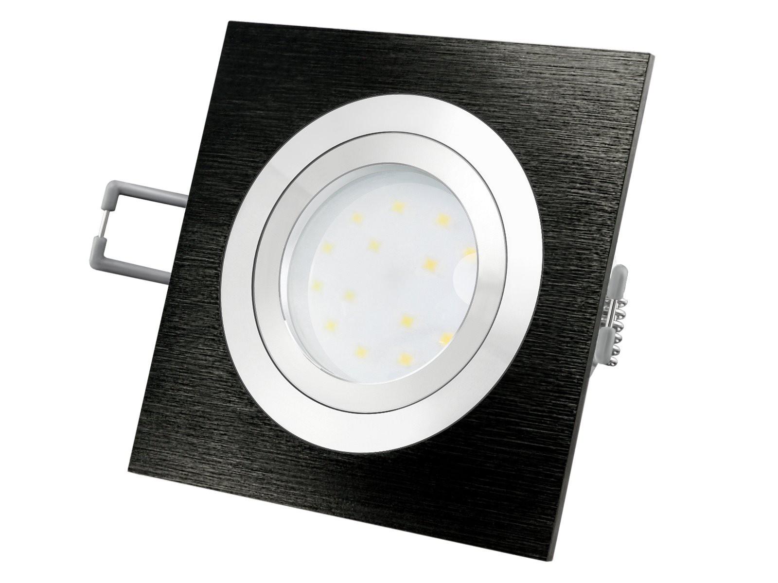 qf 2 led einbauleuchte alu schwarz schwenkbar flach inkl led modul 230v 5w warm wei 2700k. Black Bedroom Furniture Sets. Home Design Ideas