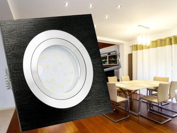 QF-2 LED-Einbauleuchte Alu schwarz schwenkbar flach inkl. LED-Modul 230V, 5W, warm weiß 2700K – Bild 4