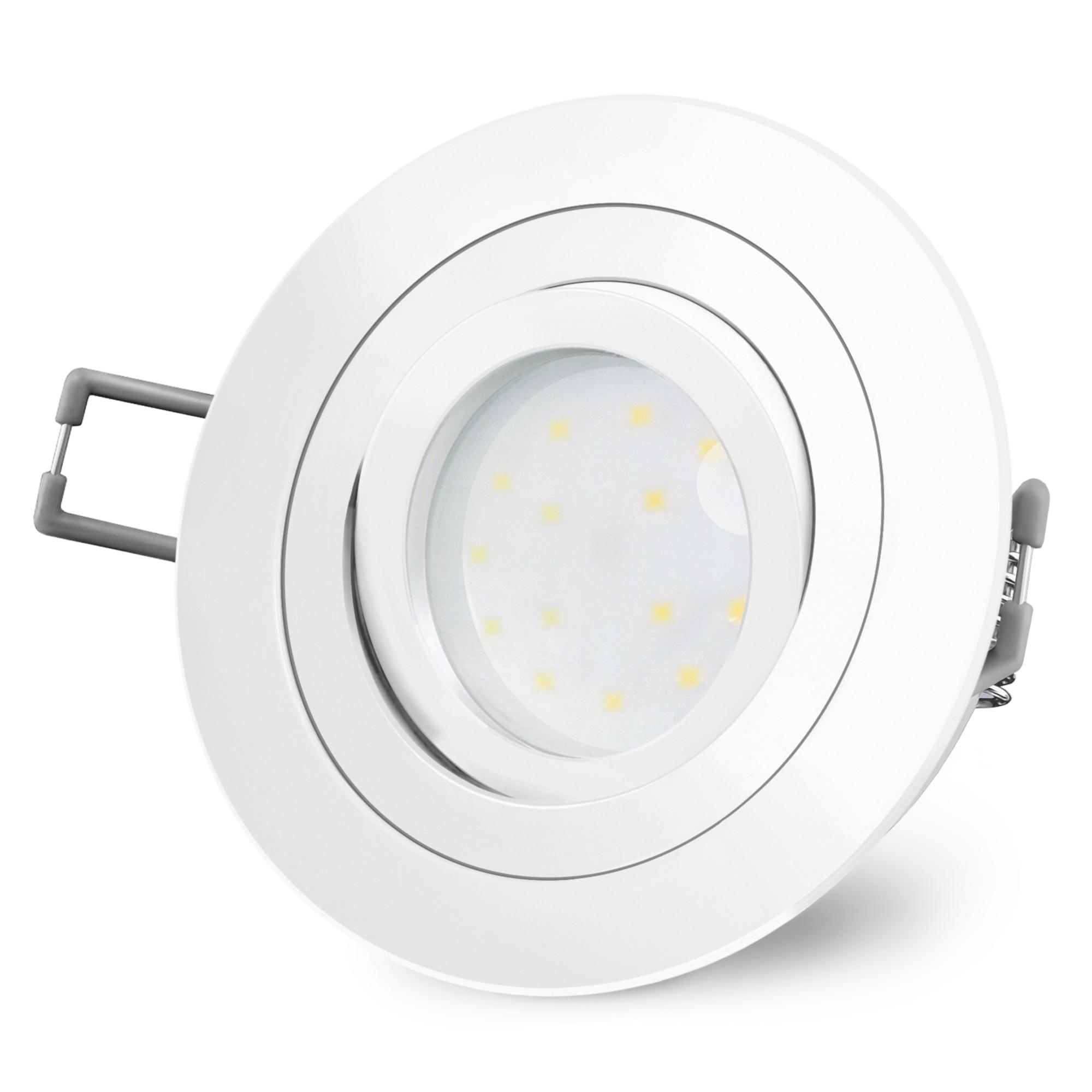 5 x flach LED Badleuchten Decken-Einbaustrahler Einbauspots IP44 warmweiß 230V