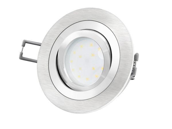 RF-2 Aluminium LED-Einbauleuchte flach rund inkl. LED-Modul 230V, 5W SMD, warm weiß 2700K