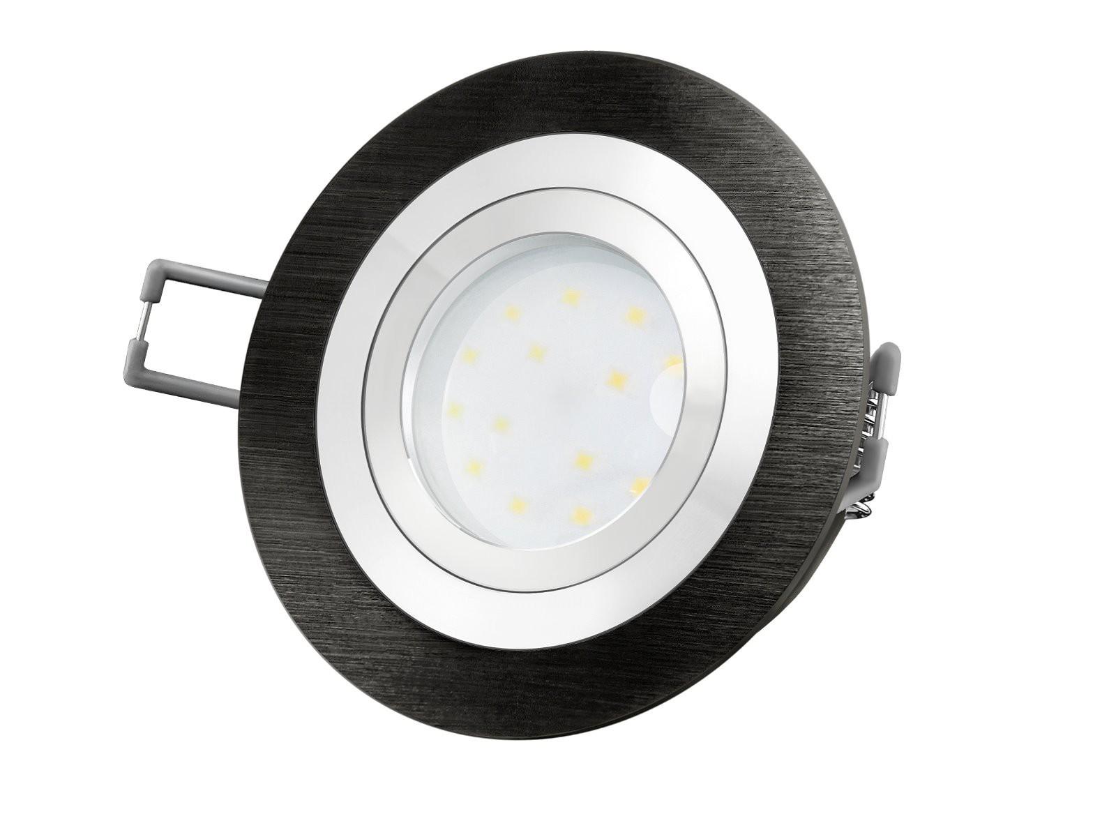 RF 2 LED Einbauspot Rund Flach Alu Schwarz Gebürstet, LED Modul 230V