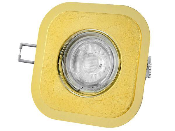 Goldener LED Einbaustrahler quadratisch, schwenkbar, mit Blattgold, 5W dimmbar warm weiß, GU10 230V – Bild 2