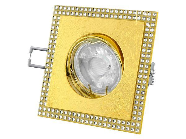 LED-Einbaustrahler quadratisch schwenkbar mit Blattgold und SWAROVSKI Elementen, 5W dimmbar warm weiß – Bild 1