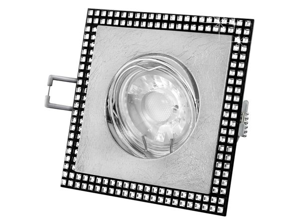 LED-Einbauleuchte quadratisch schwenkbar mit Blattsilber und SWAROVSKI Elementen, 5W warm weiß DIMMBAR – Bild 1