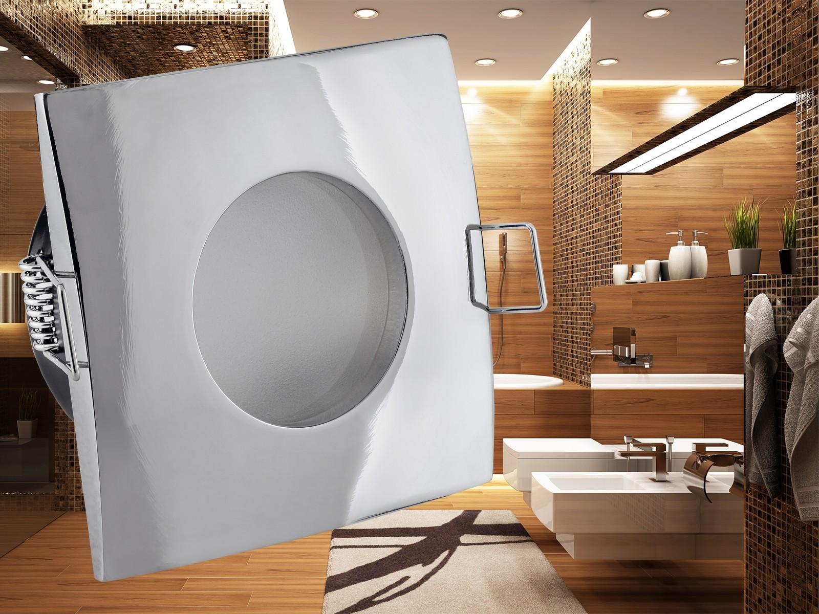 qw 1 feuchtraum led einbaustrahler bad einbauleuchte chrom ip65 3w smd led warm wei gu10. Black Bedroom Furniture Sets. Home Design Ideas